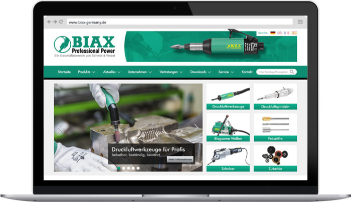 BIAX Germany: Webseite realisiert mit dem Content-Management-System Weblication