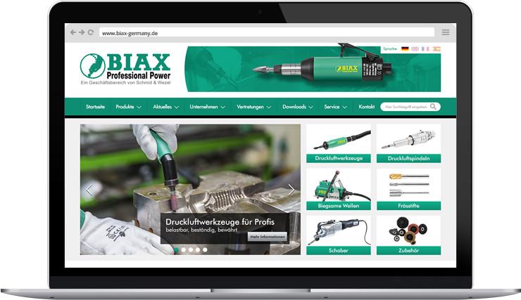 BIAX Druckluftwerkzeuge - Webdesign inklusive Ingeration in das Content-Management-System Weblication