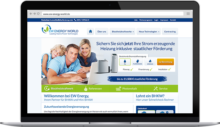 Responsive Webdesign der EW Energy World GmbH