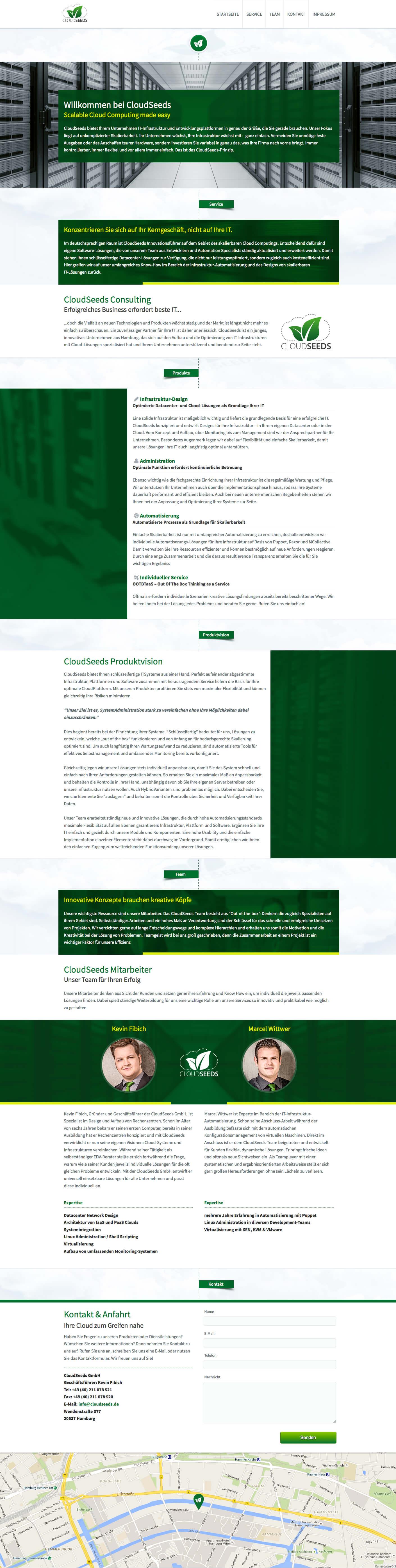 Webdesign Komplettansicht der Startseite