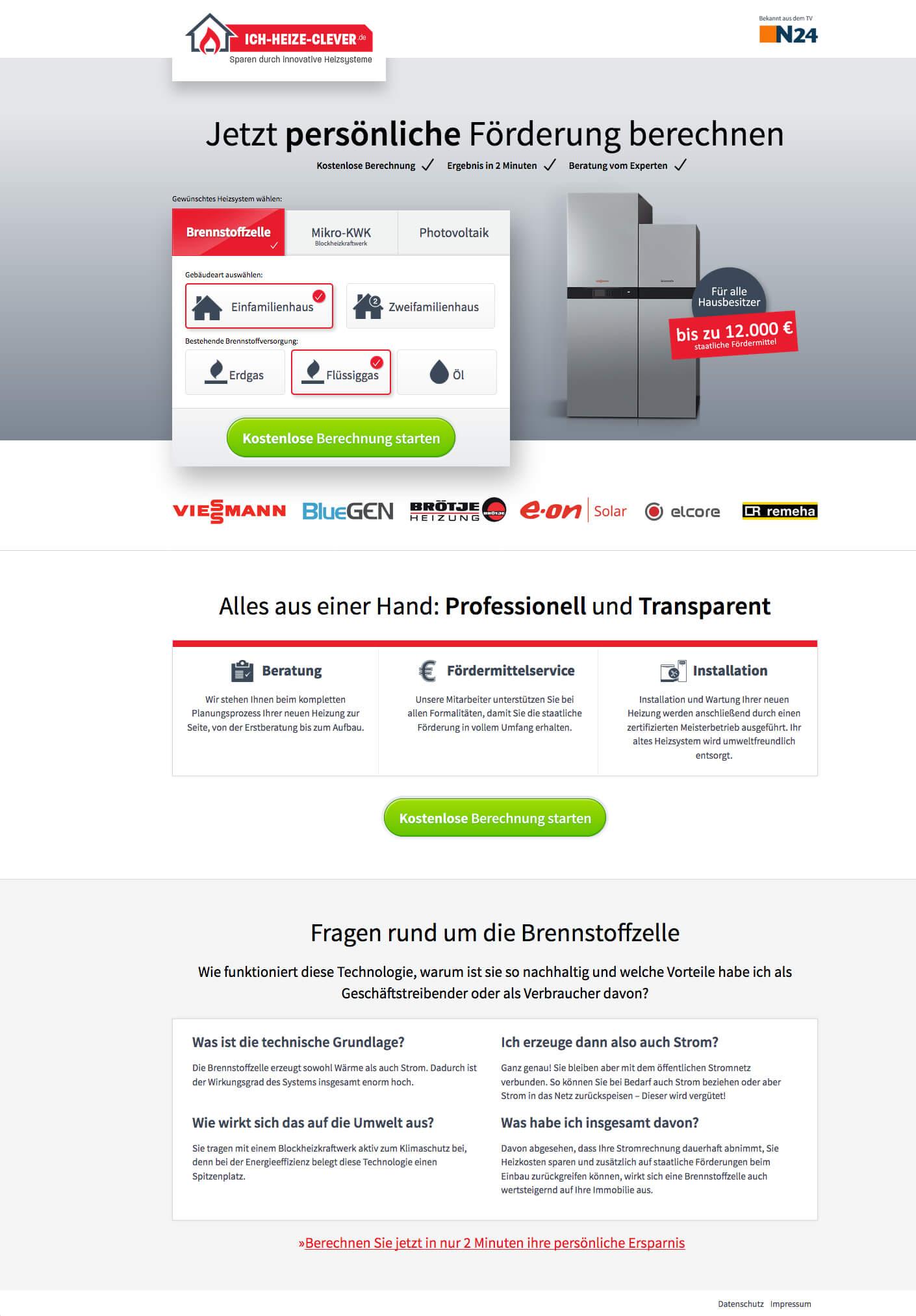 Ich-heize-clever.de Webdesign Komplettansicht
