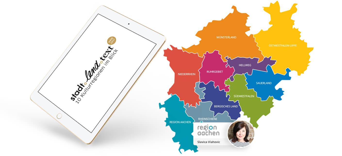 Die interaktive Karte der 10 Kulturregionen von www.stadt-land-text.de